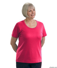 Silvert's 131500203 Womens Short Sleeve Crew Neck T Shirt, Size Large, FUSCHIA