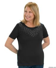 Silvert's 131900103 Stylish Cotton Short Sleeve Tee Shirt, Size Large, BLACK