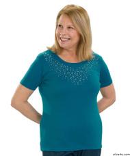 Silvert's 131900303 Stylish Cotton Short Sleeve Tee Shirt, Size Large, TURQUOISE