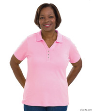 Silvert's 132100301 Short Sleeve Polo Style Tshirt, Size Small, PASTEL PINK
