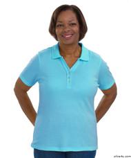 Silvert's 132100103 Short Sleeve Polo Style Tshirt, Size Large, AQUA