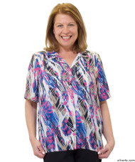 Silvert's 132500501 Womens Regular Short Sleeve Blouse , Size 10, ROSEBLOOM