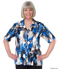 Silvert's 132500402 Womens Regular Short Sleeve Blouse , Size 12, COBALT/GREY