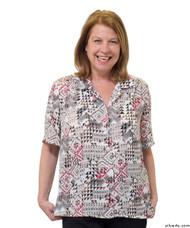 Silvert's 132500303 Womens Regular Short Sleeve Blouse , Size 14, WHEAT