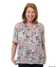 Silvert's 132500304 Womens Regular Short Sleeve Blouse , Size 16, WHEAT