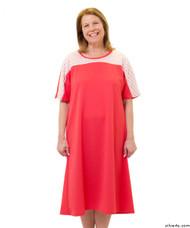 Silvert's 200600502 Ladies Casual Adaptive Back Snap Dress , Size Medium, CORAL
