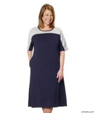 Silvert's 200600203 Ladies Casual Adaptive Back Snap Dress , Size Large, NAVY