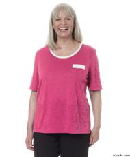 Silvert's 236600103 Womens Adaptive Crew Neck Tshirt , Size Large, RASPBERRY