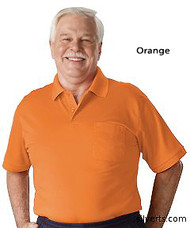 Silvert's 504300701 Mens Regular Knit Polo Shirt, Short Sleeve, Size Small, ORANGE