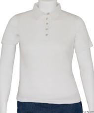 Silvert's 136600302 Womens Polo Shirt For Seniors , Size Medium, WHITE