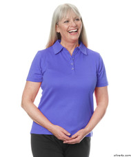 Silvert's 136600203 Womens Polo Shirt For Seniors , Size Large, PERIWINKLE