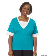 Silvert's 236400203 Womens Adaptive V Neck Tshirt , Size Large, TURQUOISE