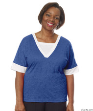 Silvert's 236400304 Womens Adaptive V Neck Tshirt , Size X-Large, COBALT