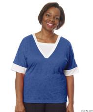 Silvert's 236410301 Womens Adaptive V Neck Tshirt , Size 2X-Large, COBALT