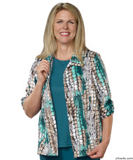 Silvert's 242300601 Womens Adaptive Open Back Fooler Blouse , Size Small, TURQUOISE