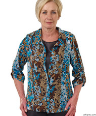 Silvert's 242300404 Womens Adaptive Open Back Fooler Blouse , Size X-Large, TEAL MOSAIC