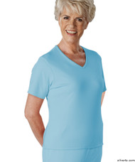 Silvert's 133600102 Womens Regular Summer V Neck T Shirt, Short Sleeve, Size Medium, BLUE BELL