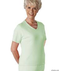 Silvert's 133600402 Womens Regular Summer V Neck T Shirt, Short Sleeve, Size Medium, MINT