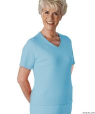 Silvert's 133600103 Womens Regular Summer V Neck T Shirt, Short Sleeve, Size Large, BLUE BELL