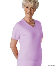 Silvert's 133600503 Womens Regular Summer V Neck T Shirt, Short Sleeve, Size Large, MAUVE