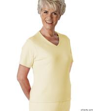 Silvert's 133600303 Womens Regular Summer V Neck T Shirt, Short Sleeve, Size Large, BUTTERCUP