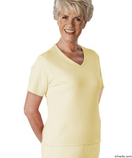 Silvert's 133600304 Womens Regular Summer V Neck T Shirt, Short Sleeve, Size X-Large, BUTTERCUP