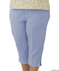 Silvert's 233400101 Womens Adaptive Capri Pants , Size Small, CHAMBRAY