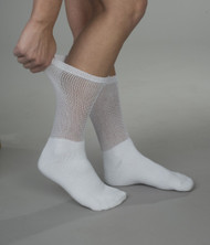 Wearever SK300 Women's Loose-top Diabetic socks, White, 3 Pack