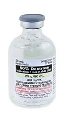 Hospira 6648050 Caloric Agent Dextrose / Water 50% Intravenous IV Solution Single Dose Vial 50 mL