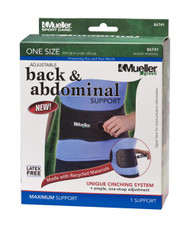 Mueller 86741 Adjustable Back & Abdominal Support, Black, One Size Fits Most