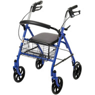 Drive Medical 10257BL-1 4-Wheel Walker Rollator with Fold Up Removable Back Support, Blue