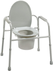 Drive Medical 11105N-4 Deluxe All-In-One Welded Steel Commode with Plastic Armrests