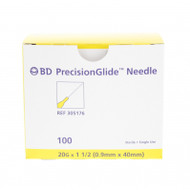 "BD 305176 NEEDLE STERILE BD PRECISIONGLIDE CONVENTIONAL Regular Bevel 20G x 33mm (1.5"") 100/bx"