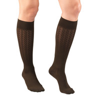 TRUFORM 1975BN LADIES' HOSIERY KNEE-SOCKS, 15-20mmHg 15-20mmHg Cable pattern, brown S-M-L-XL (1975BN)