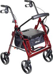 Duet Dual Function Transport Wheelchair Walker Rollator, Burgundy (795BU)