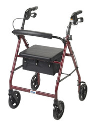 Aluminum Rollator with Fold Up and Removable Back Support and Padded Seat, Red (R728RD)