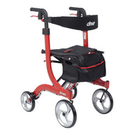 Nitro Euro Style Walker Rollator, Hemi Height, Red (RTL10266-H)