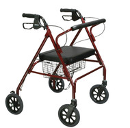Drive 10215RD-1 Heavy Duty Bariatric Walker Rollator with Large Padded Seat, Red (10215RD-1)