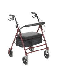 """Drive 10252RD Bariatric Rollator with 7.5"""" Wheels, Red"""
