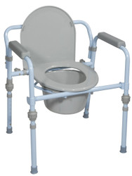 Drive Medical RTL11148KDR Folding Bedside Commode with Bucket and Splash Guard