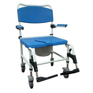 Aluminum Bariatric Rehab Shower Commode Chair with Two Rear-Locking Casters (NRS185008)