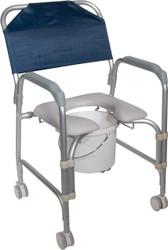 Drive 11114KD-1 Lightweight Portable Shower Chair Commode with Casters (11114KD-1)