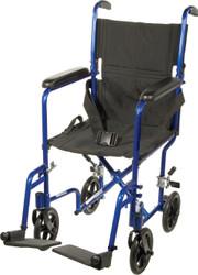 """Drive ATC17-BL Aluminum Lightweight Transport Wheelchair, 17"""" Seat, Blue"""
