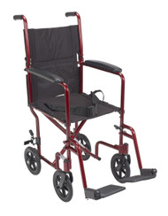 "Drive ATC17-RD Lightweight Transport Wheelchair, 17"" Seat, Red"