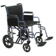 "Drive BTR20-B Bariatric Heavy Duty Transport Wheelchair with Swing Away Footrest, 20"" Seat, Blue (BTR20-B)"