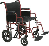 """Drive Bariatric Heavy Duty Transport Wheelchair with Swing Away Footrest, 22"""" Seat, Red (BTR22-R)"""