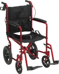 Drive Medical EXP19LTRD Lightweight Expedition Transport Wheelchair with Hand Brakes, Red