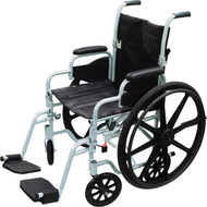 "Drive TR16 Poly Fly Light Weight Transport Chair Wheelchair with Swing away Footrests, 16"" Seat (TR16)"