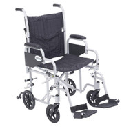 "Drive TR20 Poly Fly Light Weight Transport Chair Wheelchair with Swing away Footrests, 20"" Seat"