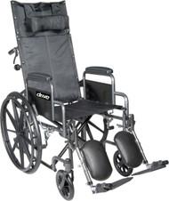 "Drive SSP18RBDDA Silver Sport Reclining Wheelchair with Elevating Leg Rests, Detachable Desk Arms, 18"" Seat (SSP18RBDDA)"